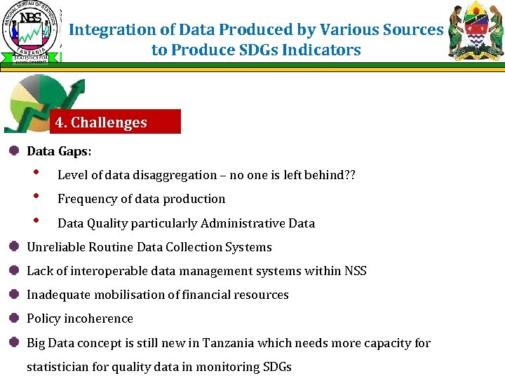 Integration of Data Produced by Various Sources to Produce SDGs Indicators 4. Challenges Data