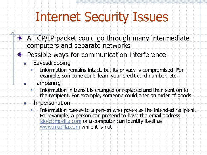 Internet Security Issues A TCP/IP packet could go through many intermediate computers and separate