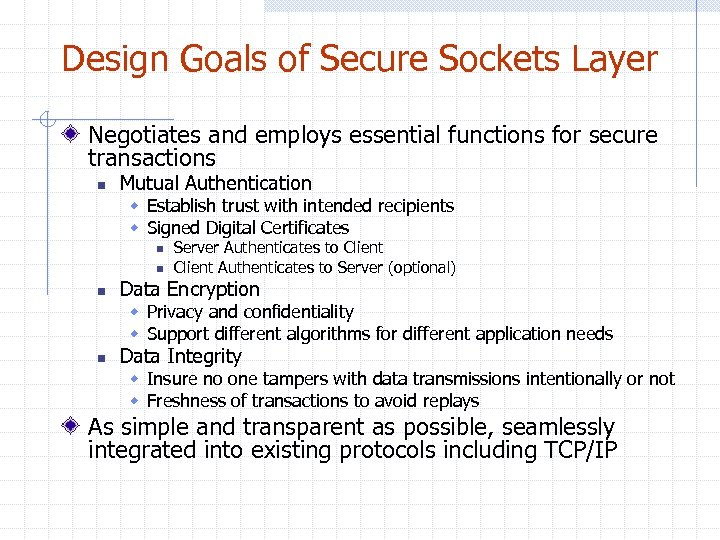 Design Goals of Secure Sockets Layer Negotiates and employs essential functions for secure transactions