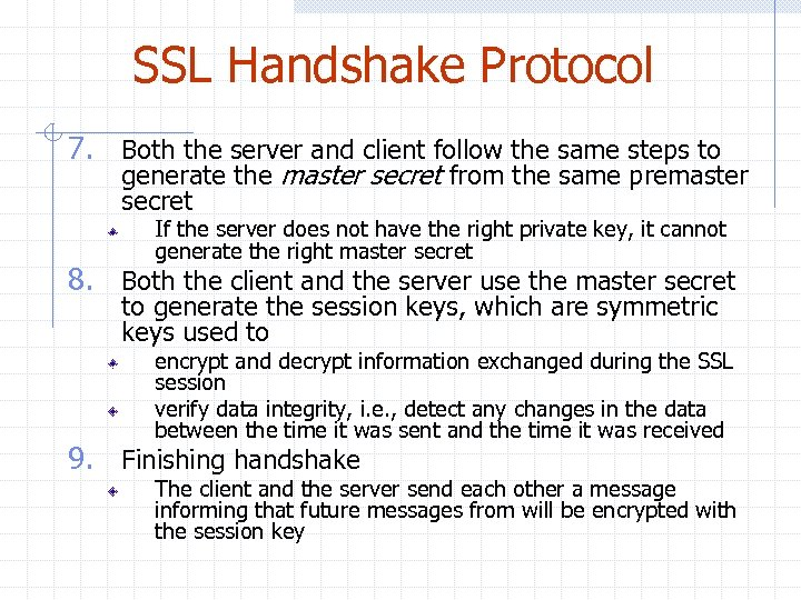 SSL Handshake Protocol 7. Both the server and client follow the same steps to