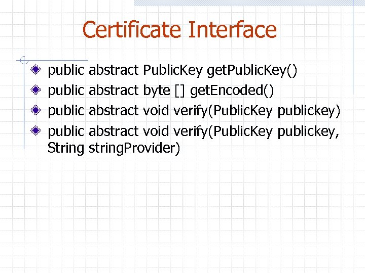 Certificate Interface public String abstract Public. Key get. Public. Key() abstract byte [] get.