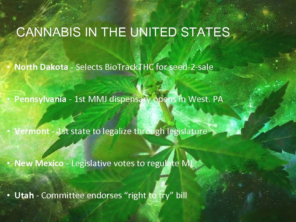 CANNABIS IN THE UNITED STATES • North Dakota - Selects Bio. Track. THC for