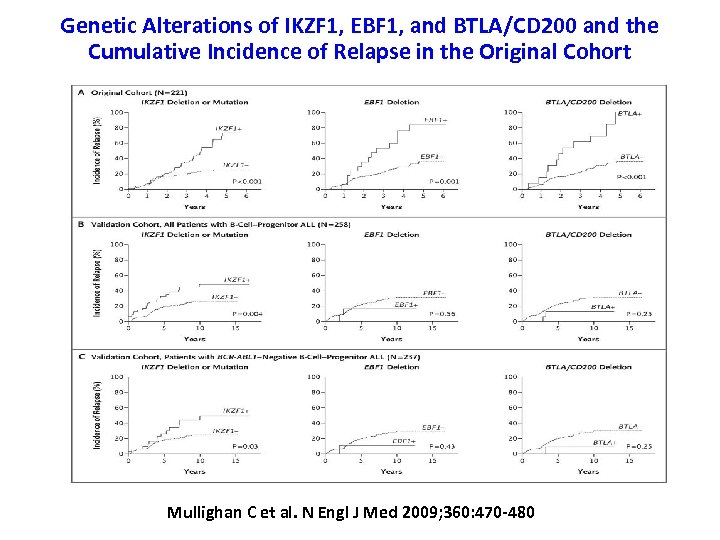 Genetic Alterations of IKZF 1, EBF 1, and BTLA/CD 200 and the Cumulative Incidence