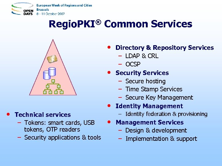 Regio. PKI® Common Services • • Technical services – Tokens: smart cards, USB tokens,