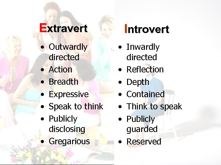 Extravert • Outwardly directed • Action • Breadth • Expressive • Speak to think