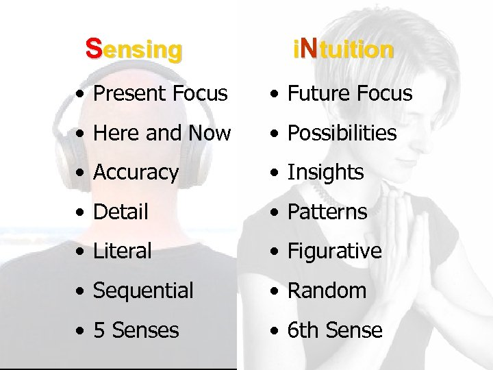 Sensing i. Ntuition • Present Focus • Future Focus • Here and Now •