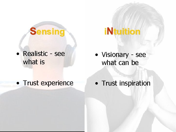 Sensing i. Ntuition • Realistic - see what is • Visionary - see what