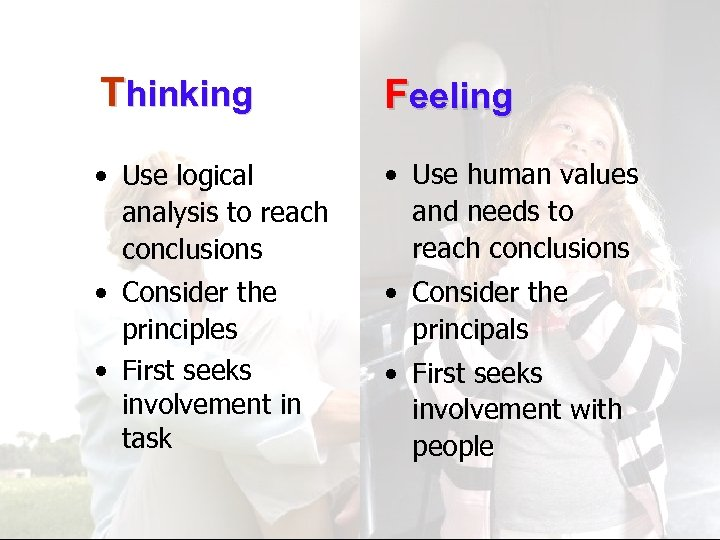 Thinking Feeling • Use logical analysis to reach conclusions • Use human values and
