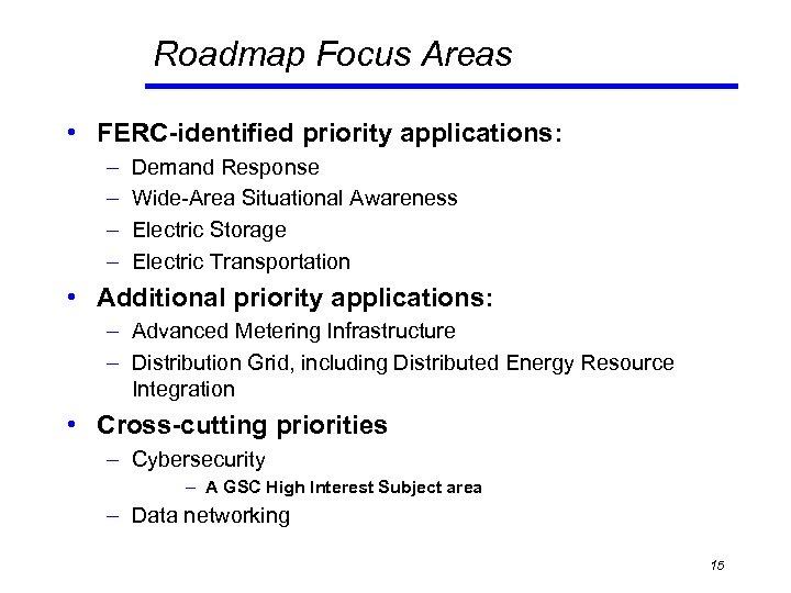 Roadmap Focus Areas • FERC-identified priority applications: – – Demand Response Wide-Area Situational Awareness