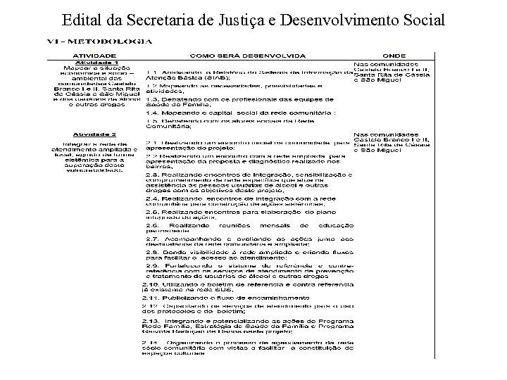 Edital da Secretaria de Justiça e Desenvolvimento Social