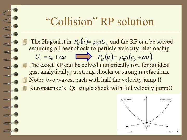 """""""Collision"""" RP solution 4 The Hugoniot is and the RP can be solved assuming"""