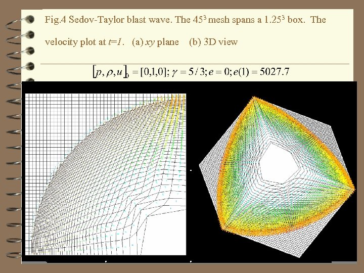 Fig. 4 Sedov-Taylor blast wave. The 453 mesh spans a 1. 253 box. The