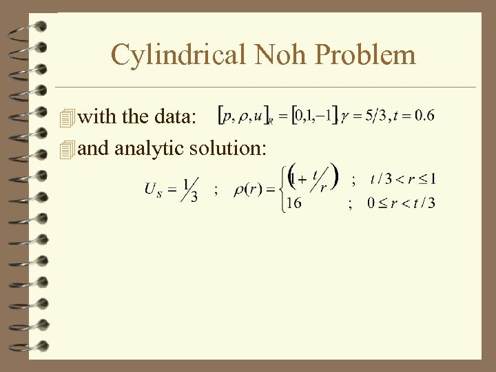 Cylindrical Noh Problem 4 with the data: 4 and analytic solution: