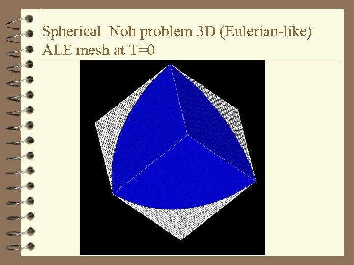 Spherical Noh problem 3 D (Eulerian-like) ALE mesh at T=0