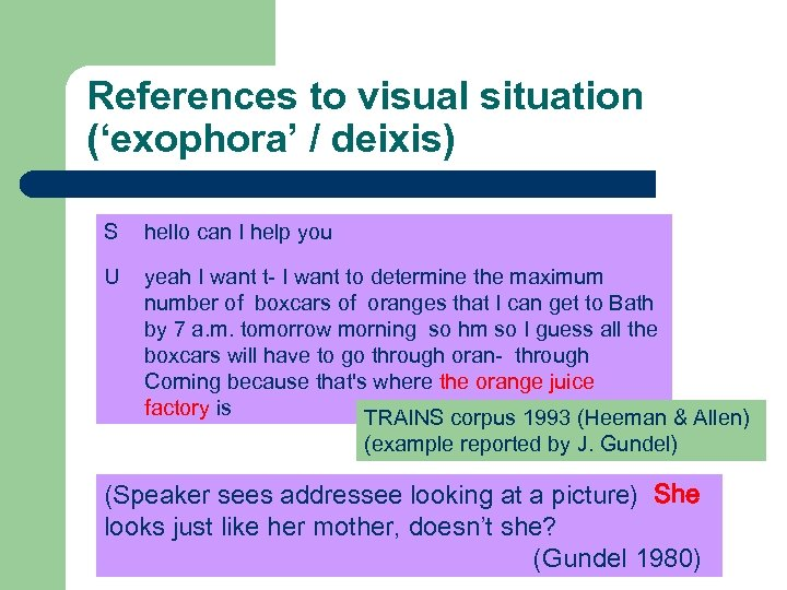 References to visual situation ('exophora' / deixis) S hello can I help you U