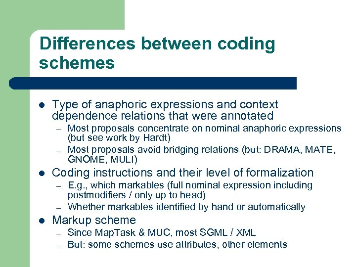 Differences between coding schemes l Type of anaphoric expressions and context dependence relations that