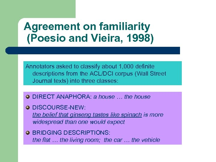 Agreement on familiarity (Poesio and Vieira, 1998) Annotators asked to classify about 1, 000