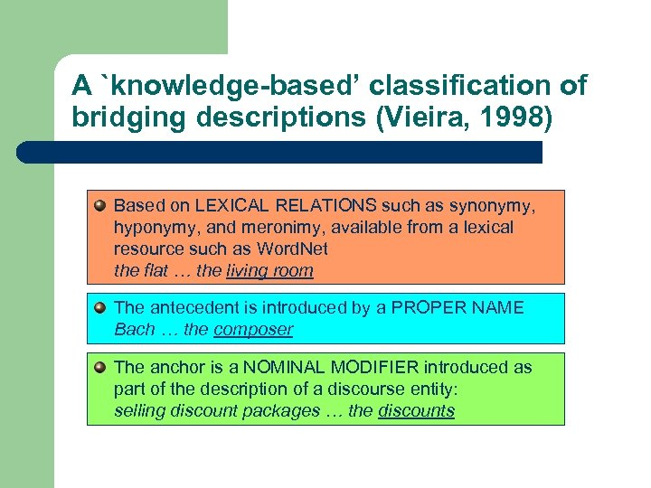 A `knowledge-based' classification of bridging descriptions (Vieira, 1998) Based on LEXICAL RELATIONS such as