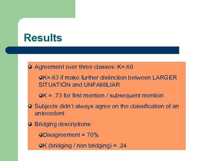 Results Agreement over three classes: K=. 68 K=. 63 if make further distinction between