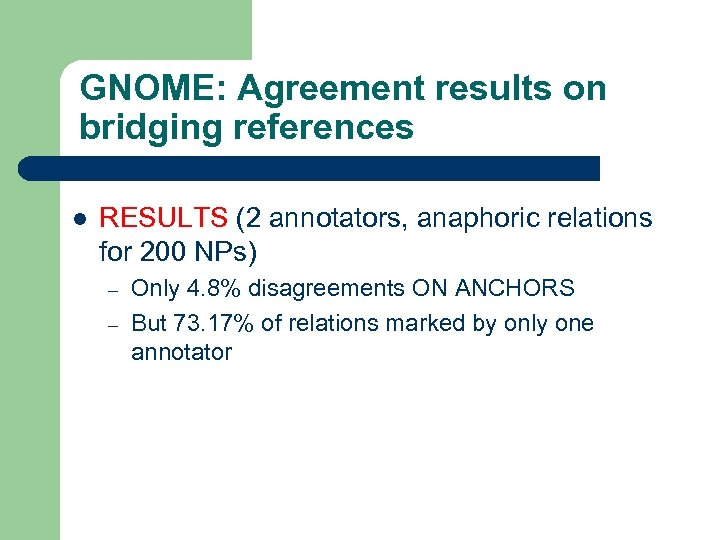 GNOME: Agreement results on bridging references l RESULTS (2 annotators, anaphoric relations for 200