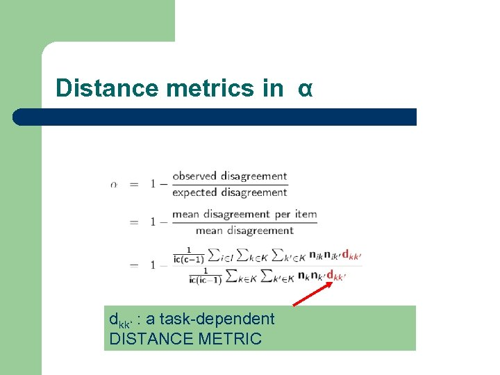 Distance metrics in α dkk' : a task-dependent DISTANCE METRIC