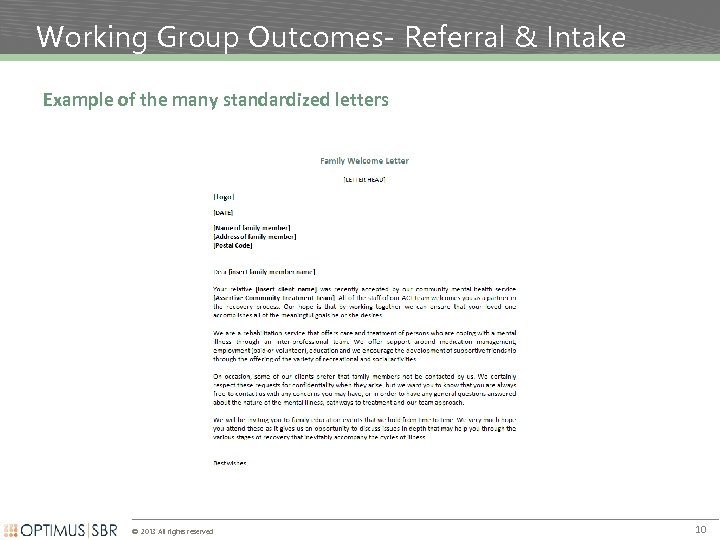 Working Group Outcomes- Referral & Intake Example of the many standardized letters © 2013