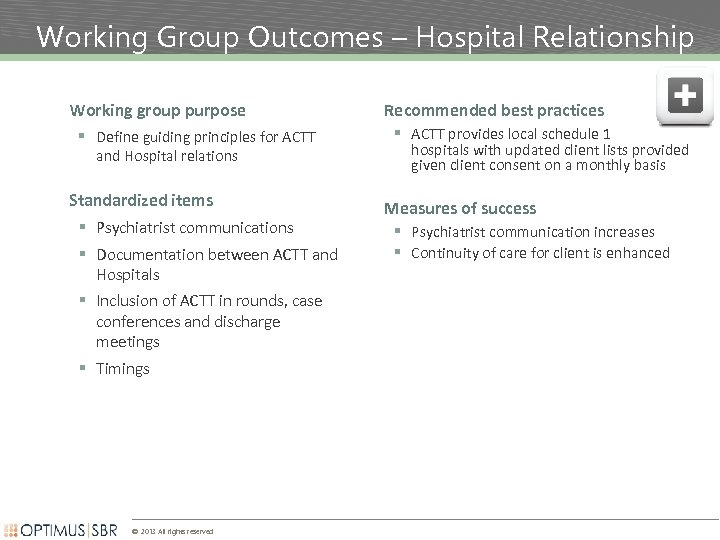 Working Group Outcomes – Hospital Relationship Working group purpose § Define guiding principles for