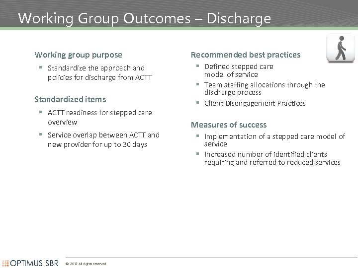 Working Group Outcomes – Discharge Working group purpose § Standardize the approach and policies