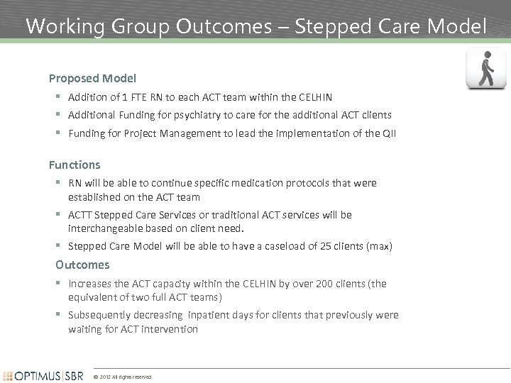 Working Group Outcomes – Stepped Care Model Proposed Model § Addition of 1 FTE