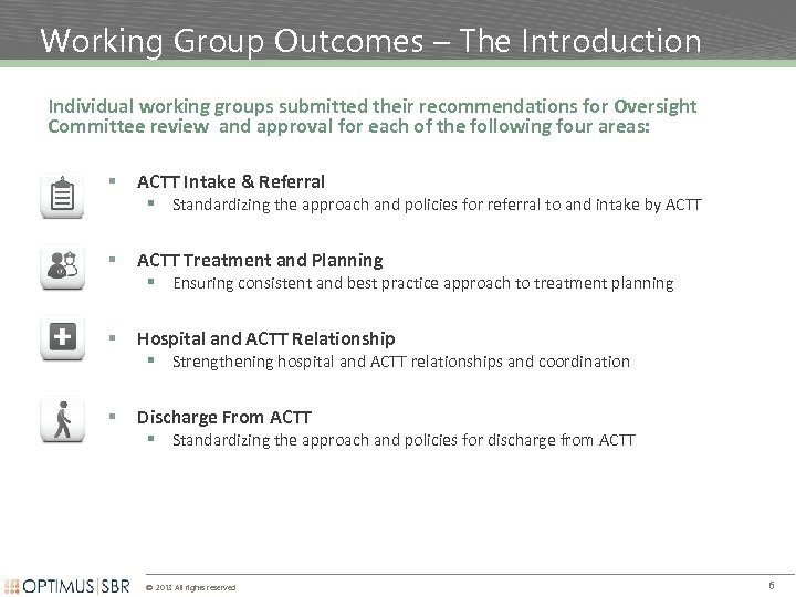 Working Group Outcomes – The Introduction Individual working groups submitted their recommendations for Oversight