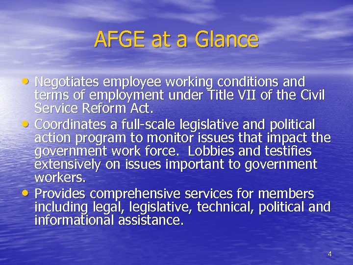 AFGE at a Glance • Negotiates employee working conditions and • • terms of