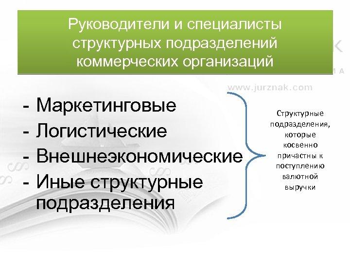 Руководители и специалисты структурных подразделений коммерческих организаций - Маркетинговые Логистические Внешнеэкономические Иные структурные подразделения