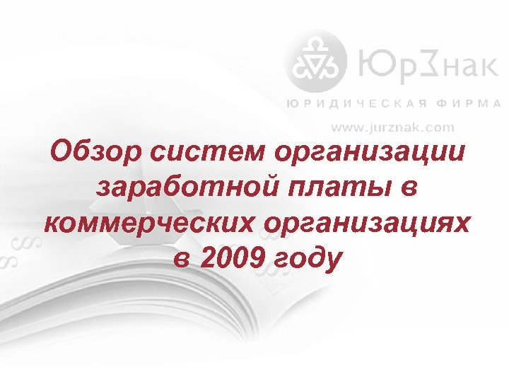 Обзор систем организации заработной платы в коммерческих организациях в 2009 году