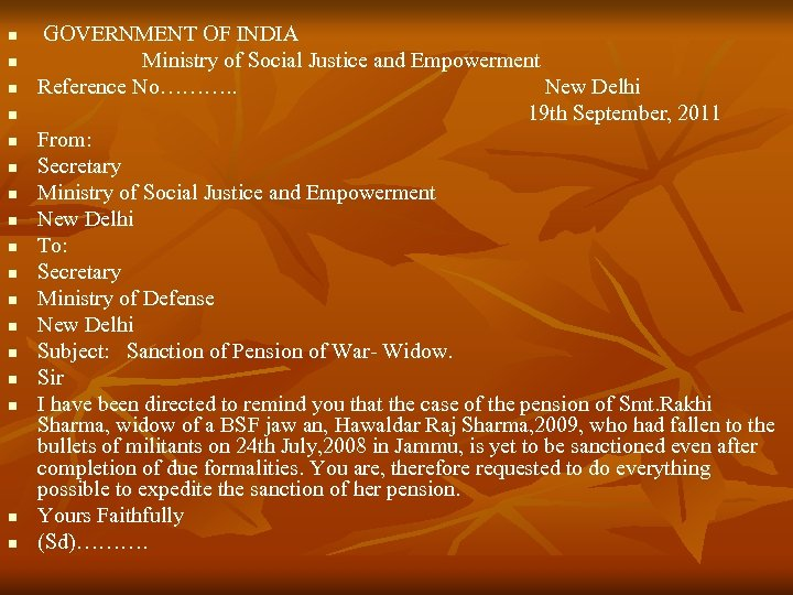 n n n n n GOVERNMENT OF INDIA Ministry of Social Justice and Empowerment