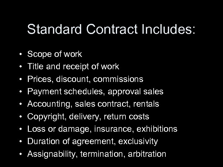 Legal Issues For Artists Gallery Agreements