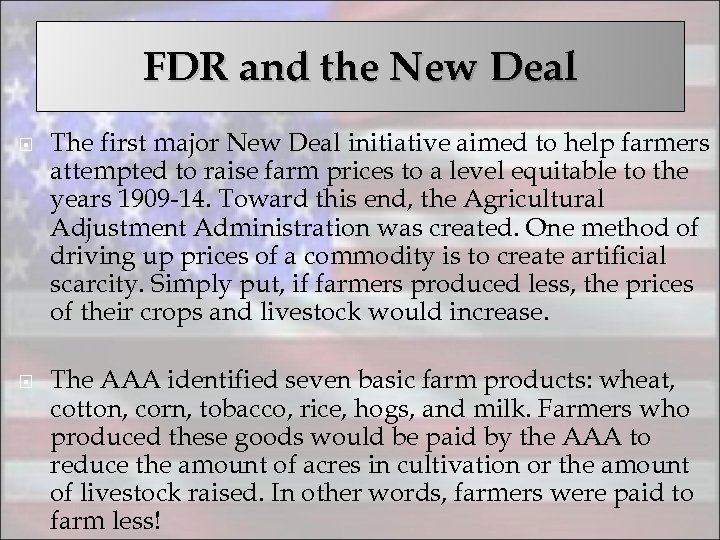 FDR and the New Deal The first major New Deal initiative aimed to help