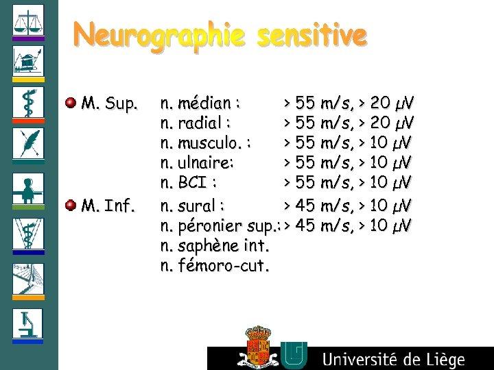 M. Sup. M. Inf. n. médian : > 55 m/s, > 20 µV n.
