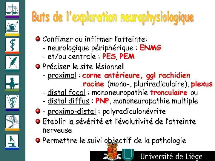 Confimer ou infirmer l'atteinte: - neurologique périphérique : ENMG - et/ou centrale : PES,