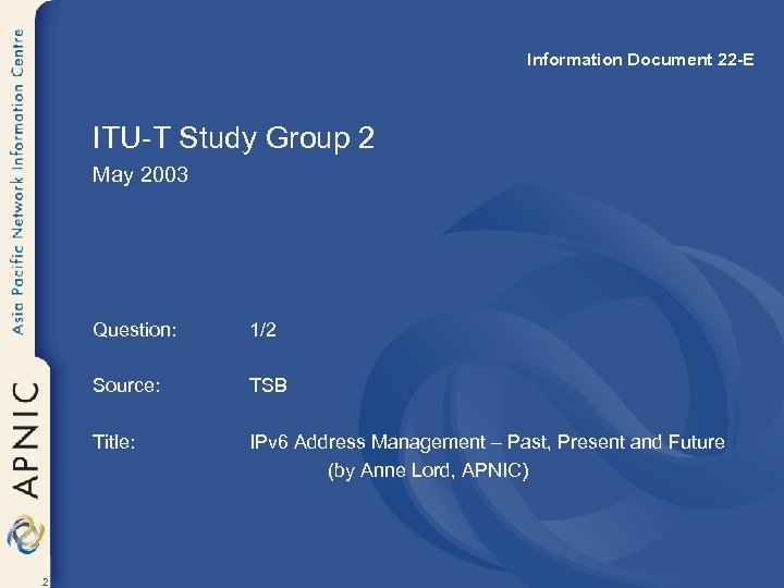 Information Document 22 -E ITU-T Study Group 2 May 2003 Question: Source: TSB Title: