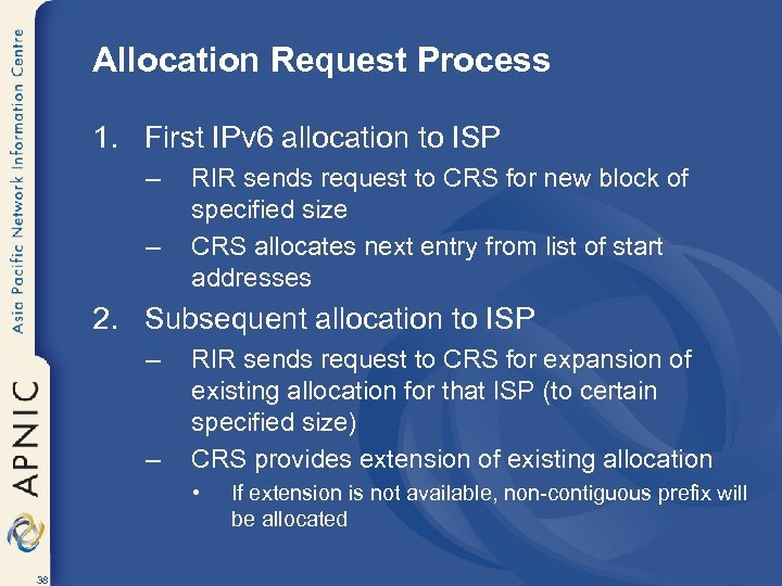 Allocation Request Process 1. First IPv 6 allocation to ISP – – RIR sends