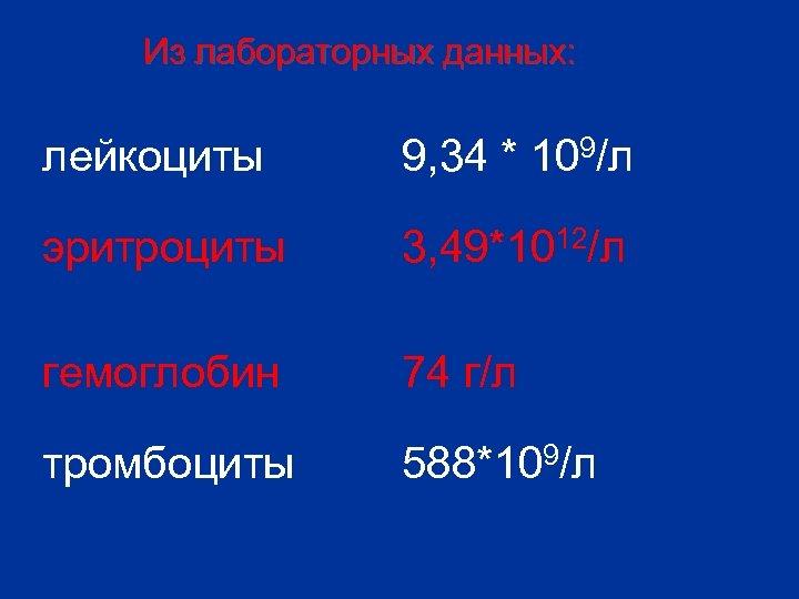 Из лабораторных данных: лейкоциты 9, 34 * 109/л эритроциты 3, 49*1012/л гемоглобин 74 г/л