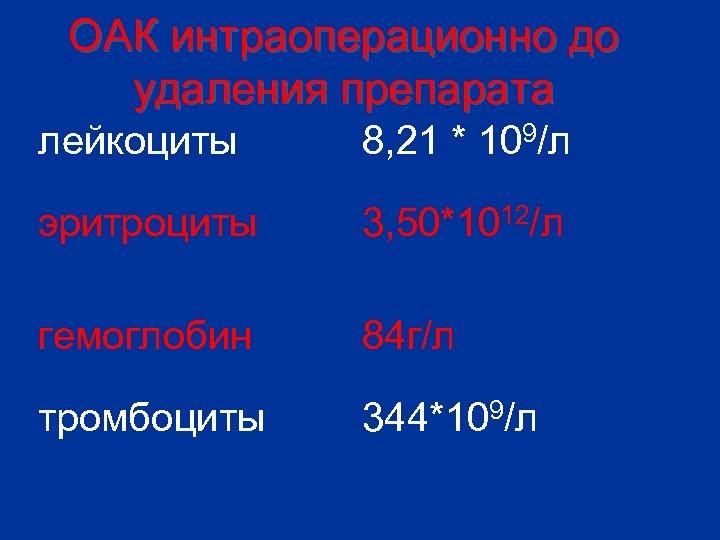 ОАК интраоперационно до удаления препарата лейкоциты 8, 21 * 109/л эритроциты 3, 50*1012/л гемоглобин
