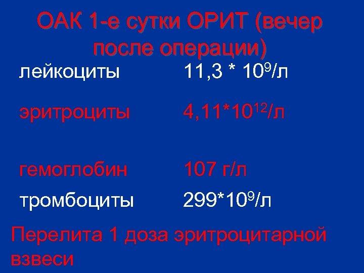 ОАК 1 -е сутки ОРИТ (вечер после операции) лейкоциты 11, 3 * 109/л эритроциты