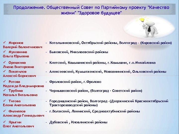Продолжение. Общественный Совет по Партийному проекту