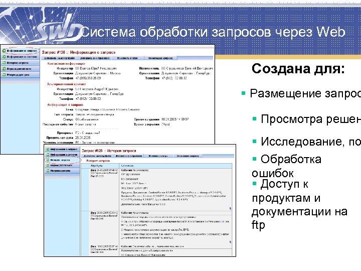 Система обработки запросов через Web Создана для: § Размещение запрос § Просмотра решен §