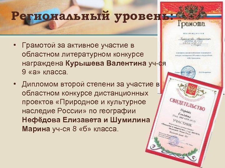 Региональный уровень: • Грамотой за активное участие в областном литературном конкурсе награждена Курышева Валентина