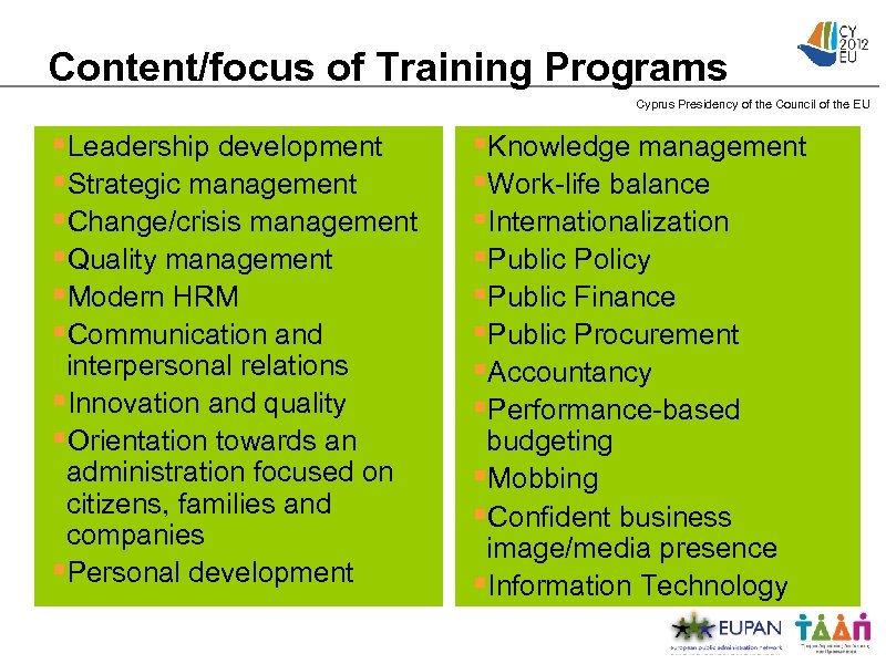 Content/focus of Training Programs Cyprus Presidency of the Council of the EU §Leadership development