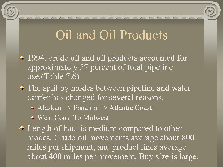Oil and Oil Products 1994, crude oil and oil products accounted for approximately 57
