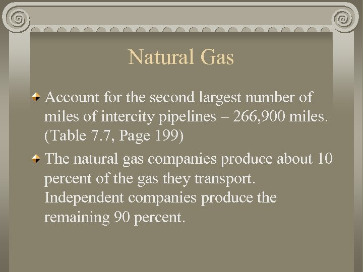 Natural Gas Account for the second largest number of miles of intercity pipelines –