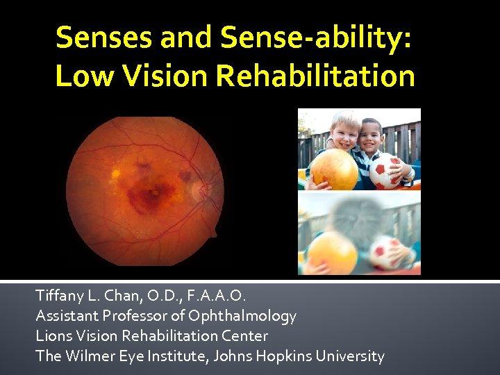 Senses and Sense-ability: Low Vision Rehabilitation Tiffany L. Chan, O. D. , F. A.